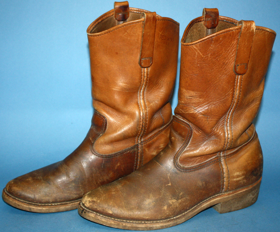 MENS VINTAGE 70s RED WING BROWN LEATHER BIKER/RANCHER/WORK WESTERN ...