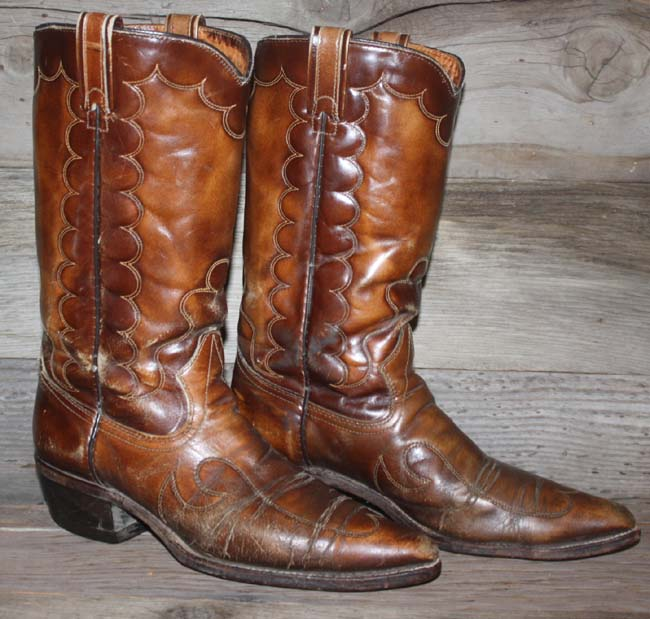 6898ada3570 Details about VTG TEXAS EMBOSSED BROWN LEATHER ROCKABILLY/FLAT  TOP/COWBOY/WESTERN BOOTS 8.5 D